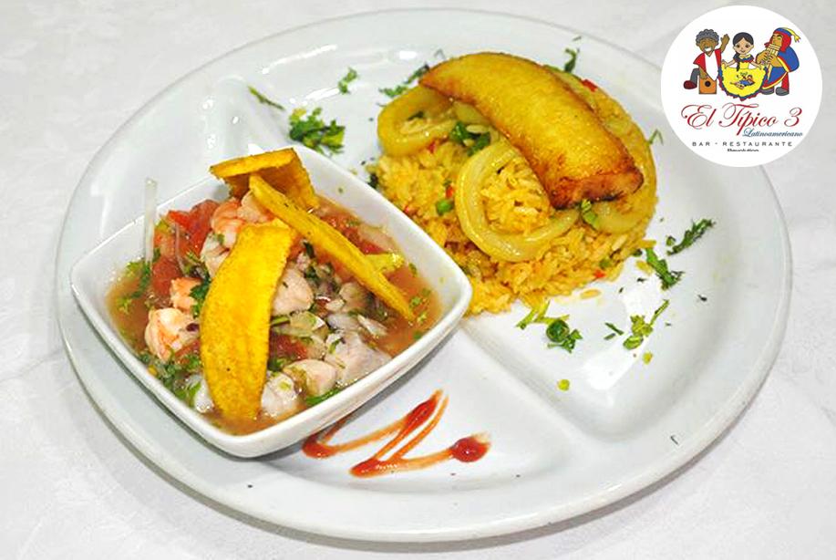 3 arroz con calamar y ceviche mixto
